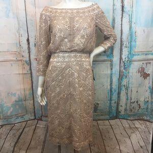 NWT TADASHI SHOJI Champagne Sequin Lace Dress